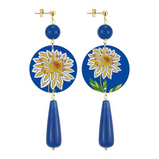 orecchini the circle goccia fiore blu in lebole