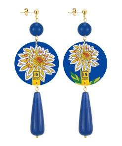 orecchini the circle goccia fiore blu retro in lebole