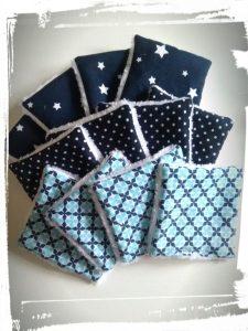 Photo tuto cotons démaquillants réutilisables monblabladefille.com epingles diy couture résultat bleu