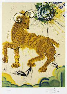 Salvador Dali ; ses peintures des signes du zodiaque : La nature s'éveille ici après l'engoudissement de l'hiver, et ce signe symbolise avant tout la poussée du printemps, donc l'impulsion, la virilité (c'est le principal signe de Mars), l'énergie, l'indépendance et le courage. (tête)