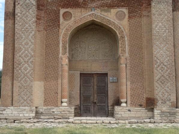The door to the mausoleum at Uzgen