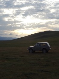 Our host's Lada watches the sun rise