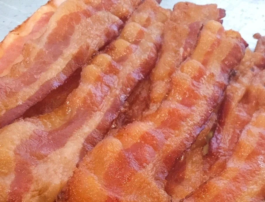 close up view of crispy cooked bacon