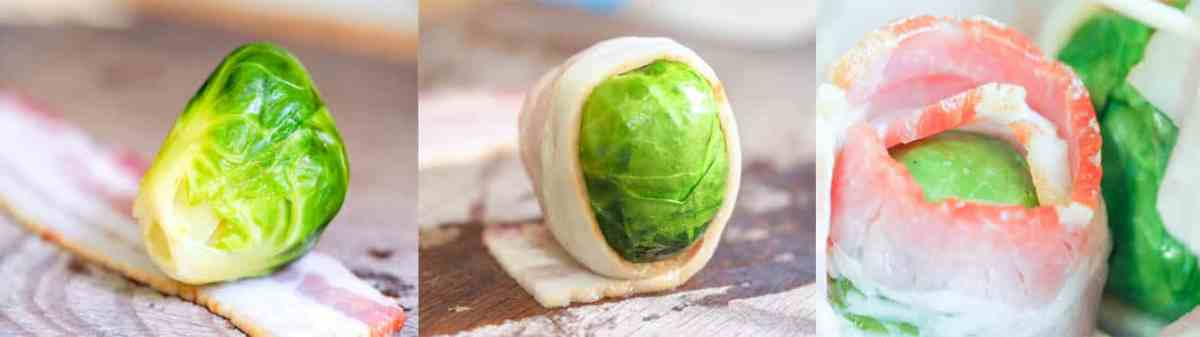 how to roll bacon brussel sprouts