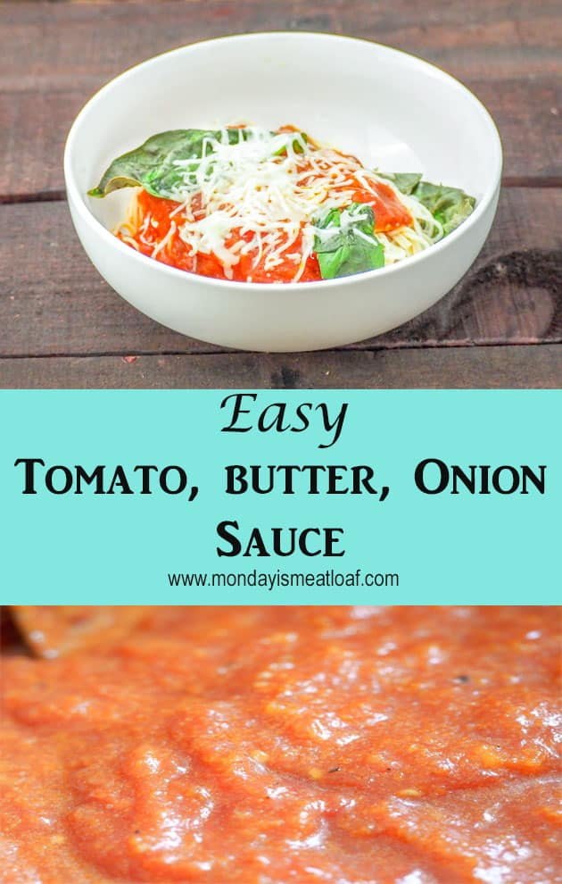 Easy to make, and full of depth of flavor. This classic tomato, butter, onion sauce is a perfect compliment to your ravioli, pasta, meatballs, or chicken parmesan! #easytomatosauce #pastasauce #pasta #tomatobuttersauce #easysaucerecipe