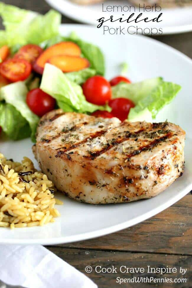 Lemon Herb Grilled Pork Chops