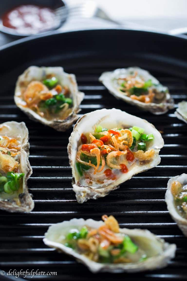 Grilled Oysters with Scallions and Fried Shallots or Hau Nuong Mo Hanh