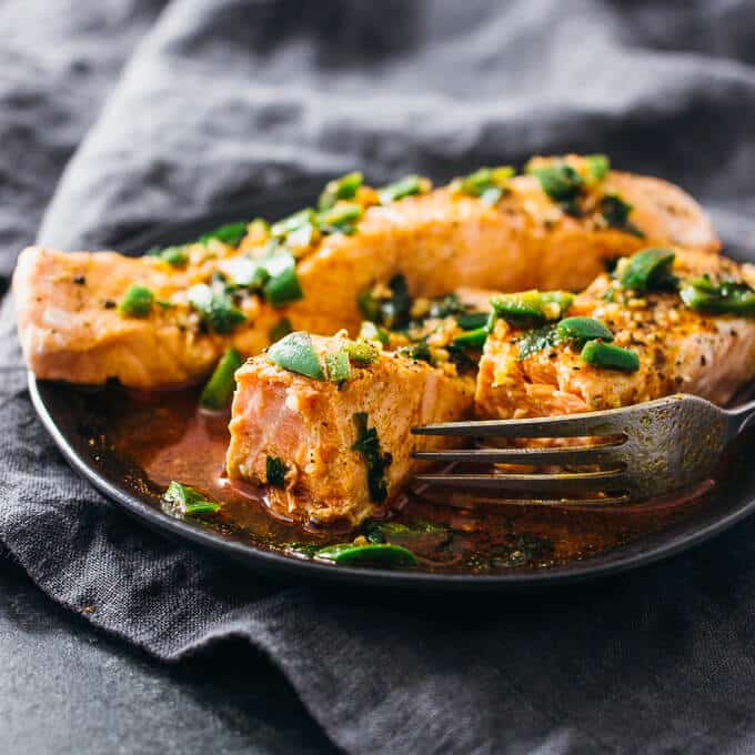 Instant Pot Salmon with Chile-Lime Sauce