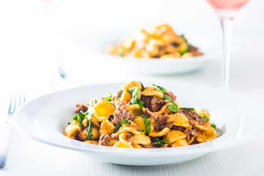 instant pot pork ragu with orecchiette pasta