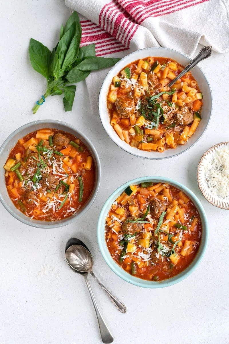 pressure cooker meatball minestrone