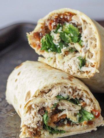 instant pot chicken caesar salad wraps