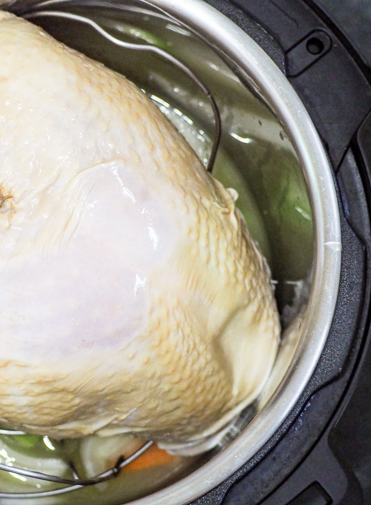 close overhead view of turkey breast in the instant pot