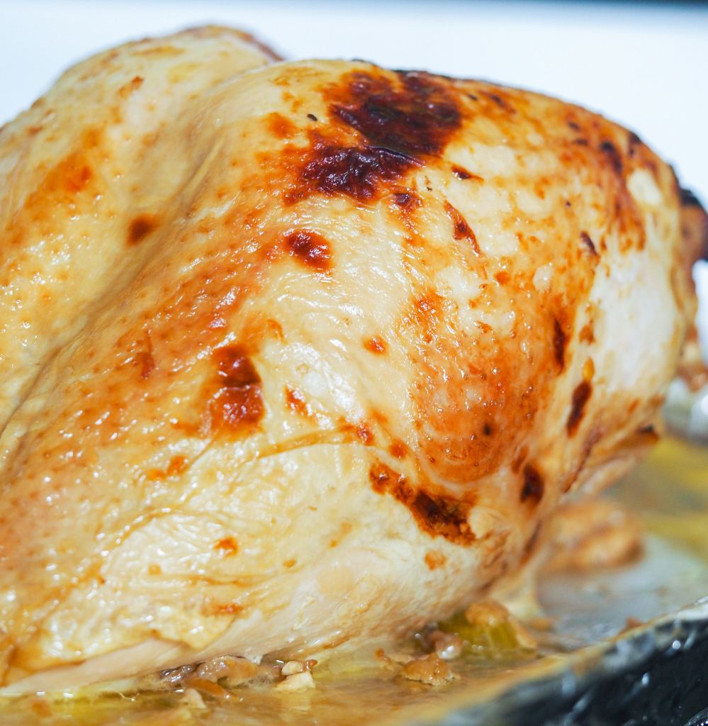 close side view of browned turkey breast