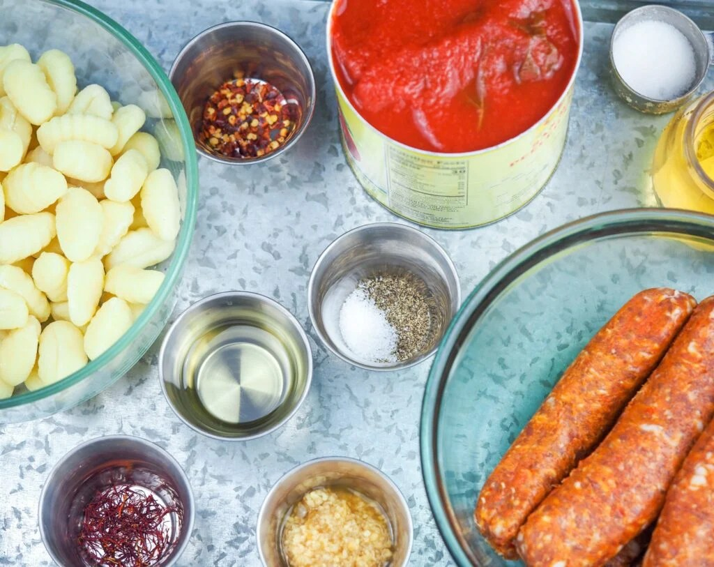 overhead shot of ingredients needed for soup