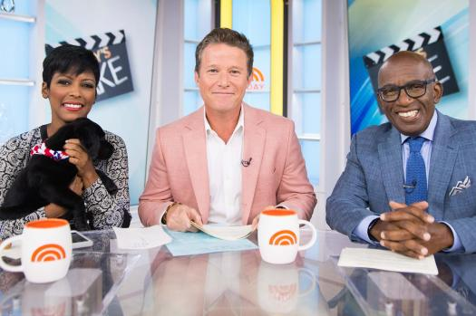 """In this Sept. 26, 2016 photo released by NBC, co-host Billy Bush appears on the """"Today"""" show in New York. Bush says he's """"embarrassed and ashamed"""" by a 2005 conversation he had with Donald Trump in which Trump made lewd comments about women. Bush, then a host of the entertainment news show """"Access Hollywood,"""" was chatting with Trump as the businessman waited to make a cameo appearance on a soap opera. In a statement Friday, Oct. 7, Bush says he was younger and less mature when the incident occurred, adding that he """"acted foolishly in playing along."""" (Peter Kramer/NBC via AP)  http://people.com/politics/billy-bush-today-not-fired-donald-trump/"""