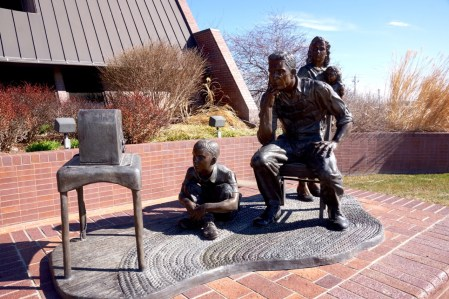 Radio sculpture outside of KRVN headquarters in Lexington, NE