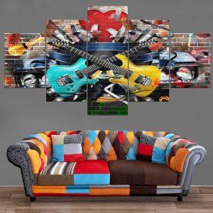 Décoration Murale Musique Guitares Eletriques Street Style