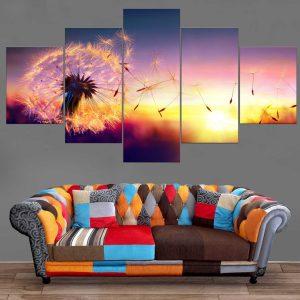 Décoration Murale Paysage Coucher de soleil Pissenlit