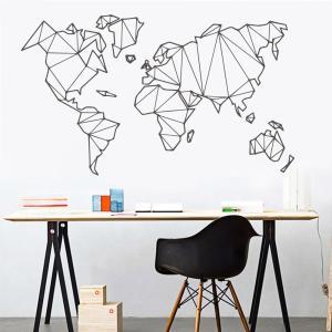 Sticker carte du monde géométrique