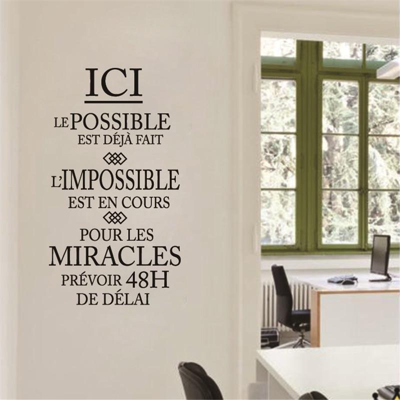Sticker Mural Citation L'impossible est en cours