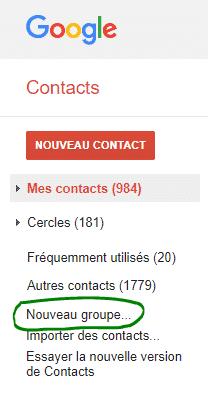 Groupe de contacts pour Créer une newsletter avec gmail