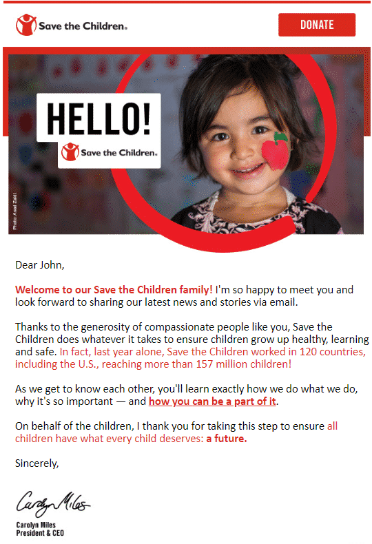 Exemple de mail par Save the Children