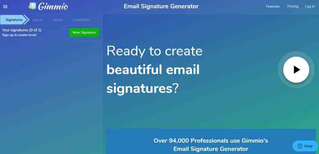 Gimmio : Le meilleur des générateurs de signature mail gratuits