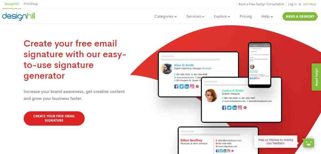 Designhill Email Signature Generator