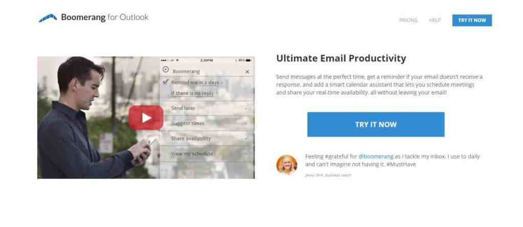 Boomerang for Outlook : Pour garder sa boîte Outlook nettoyée