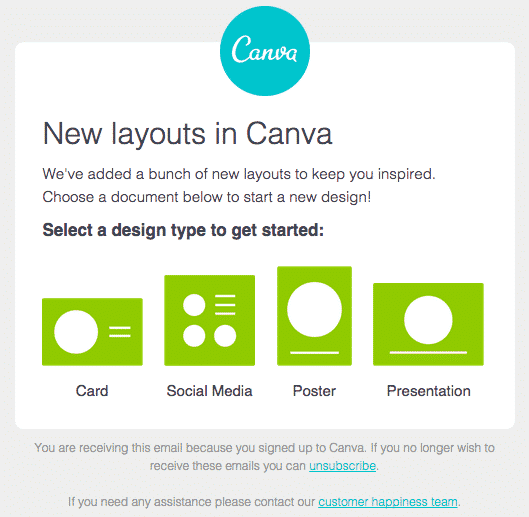 Exemple emailing Canva
