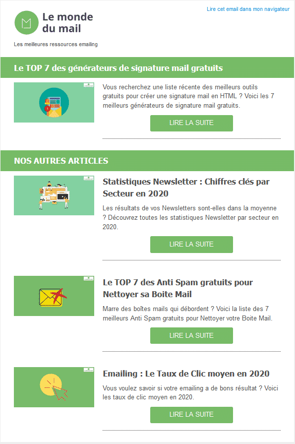 Exemple Newsletter monde du mail