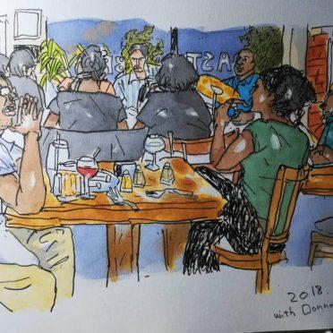 前のテーブルで聴いていたお客様も描かかせていただき、絵をみせたら、喜んでくれた^^^