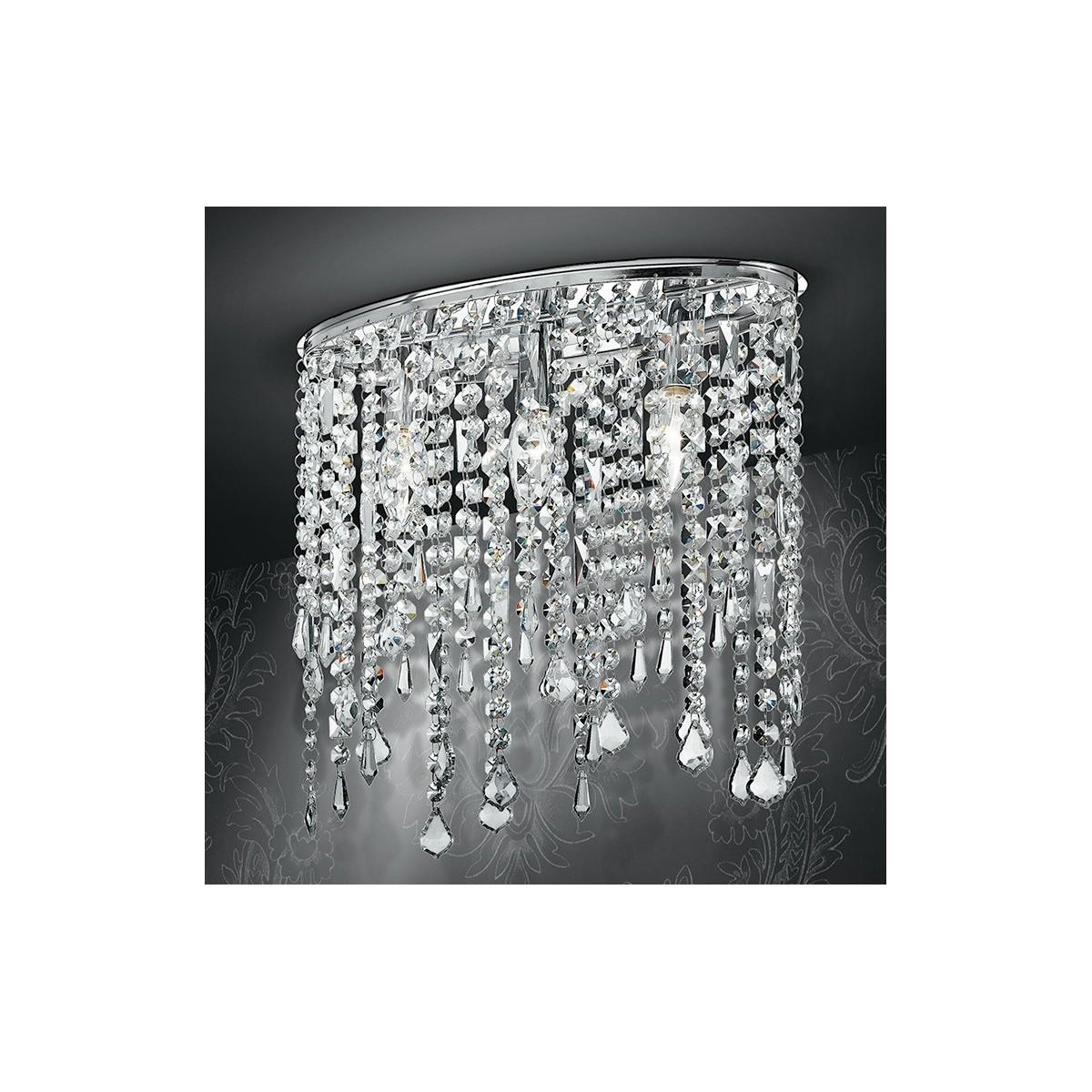Homcom lampadario moderno a sospensione in cristallo con altezza regolabile, 44 pendenti in vetro, illuminazione per casa e ufficio. Plafoniera Ovale Pendenti Cristalli K9 Lampada Interno Soffitto Classica E14