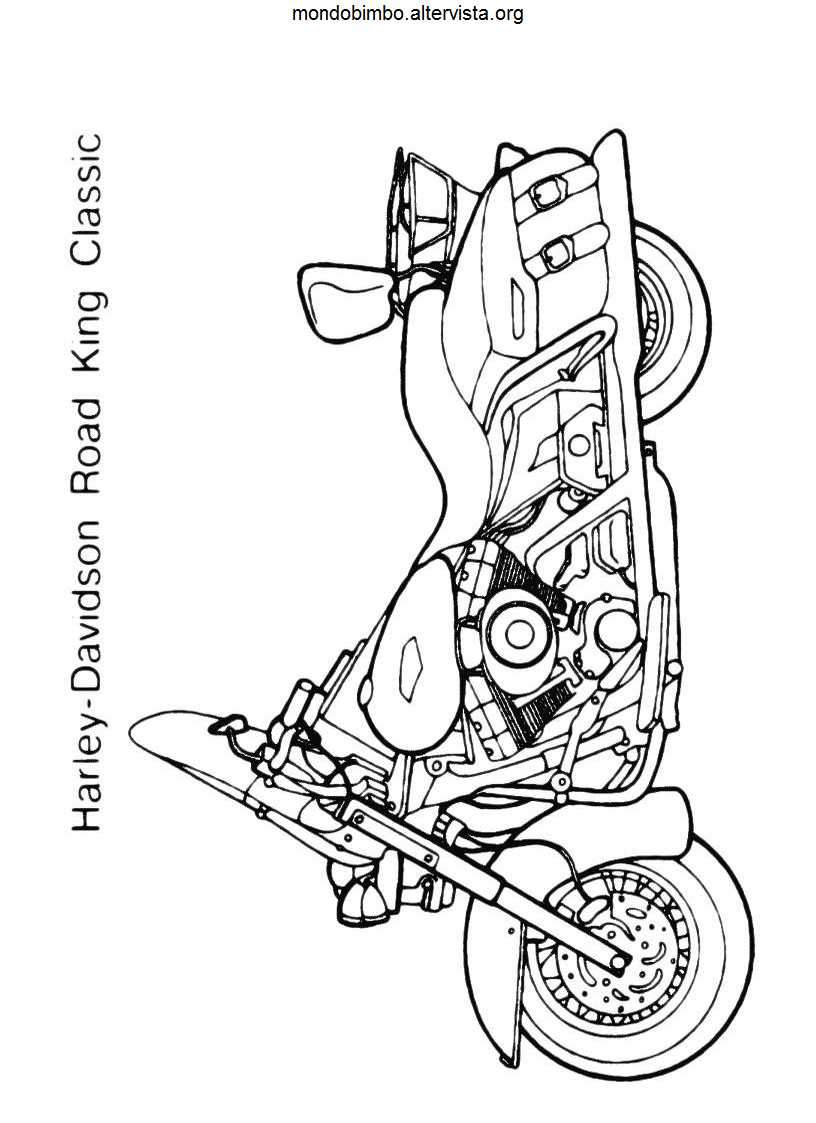 Harley Davidson da colorare — Mondo Bimbo