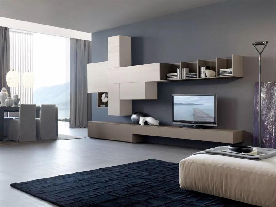 Parete attrezzata belle bianco/antracite mobile soggiorno tv design pensili sala. Pareti Attrezzate Moderne 100 Idee Di Design Per Arredare Casa Mondodesign It