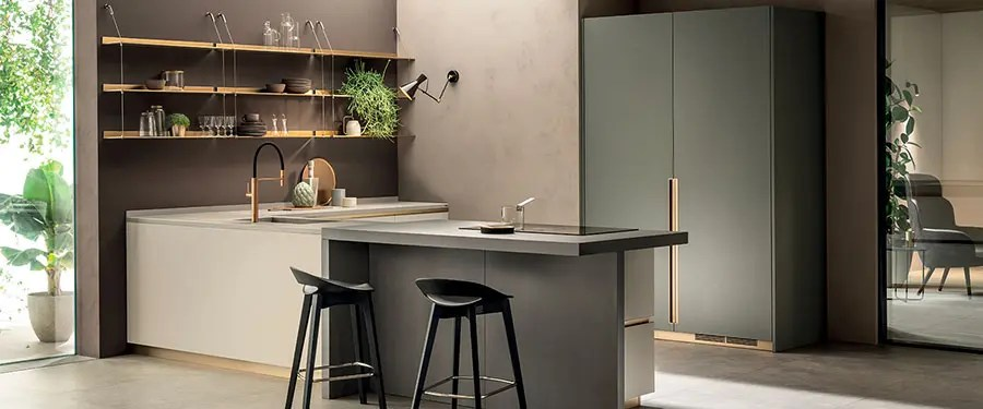 Mensola da parete legno e metallo design moderno con asta e ganci bagno cucina. 45 Cucine Con Mensole A Giorno Mondodesign It