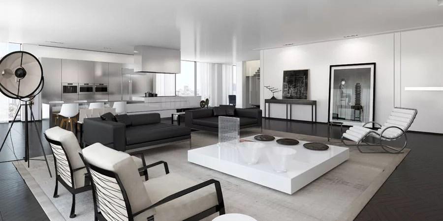 Quadro moderno il sentiero dell amore con cornice bianca 122x72 per soggiorno. 40 Idee Di Design Per Arredare Il Soggiorno In Bianco E Nero Mondodesign It
