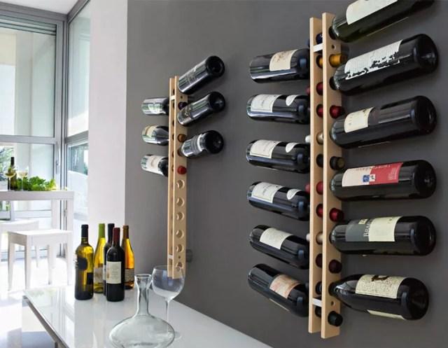 Patrón de soportes para botellas de vino 16 de pared
