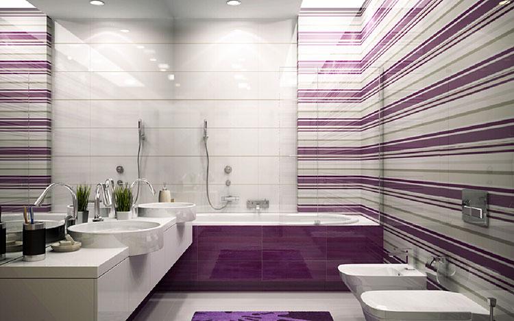 Bagno Viola dal Design Moderno ecco 20 Idee per un