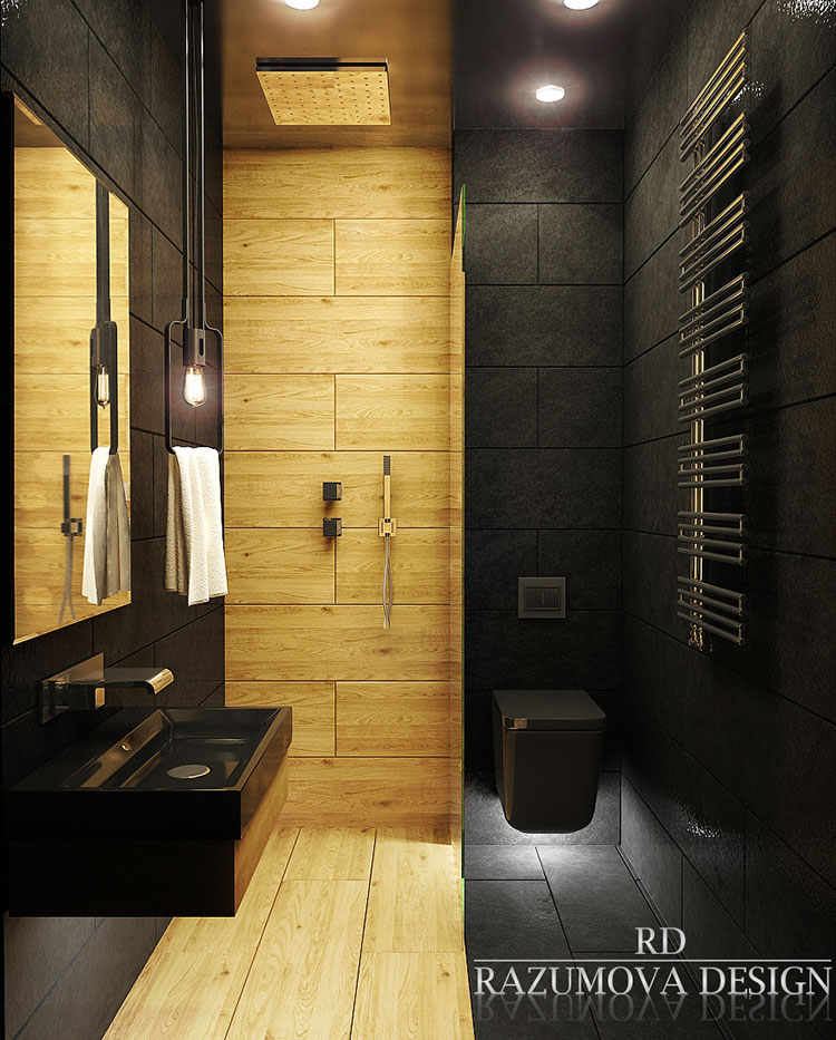 Bagni Neri Moderni 25 Foto di Progetti di Design