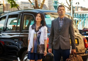 Jonny Lee Miller and Lucy Liu as Sherlock Holmes and Joan Watson in CBS Elementary Season 2 Poster