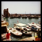 The old crusader port and its tower in Byblos