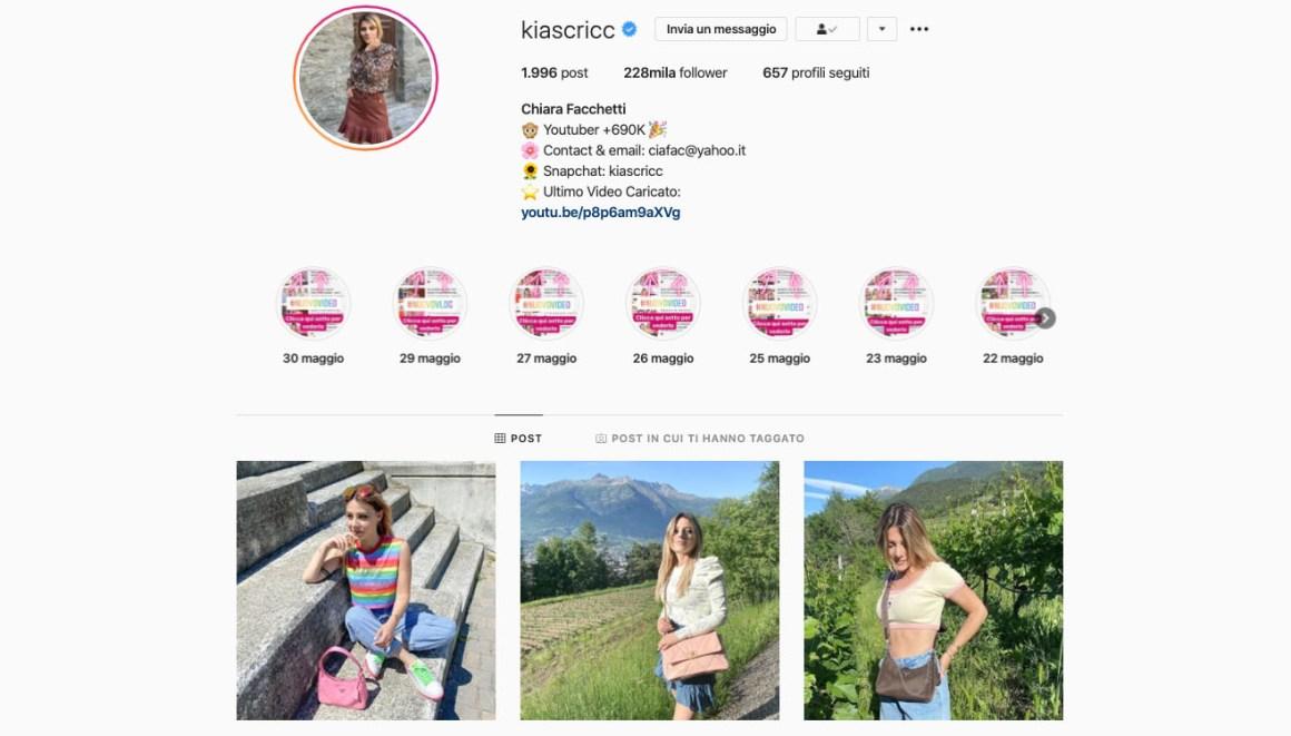 Il profilo Instagram di Chiara Facchetti