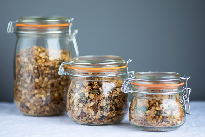Le Parfait Jars used to store Nuts, Seeds and Coconut Granola