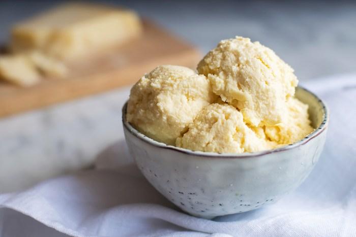 Seasonal Poached Pears with Grana Padano Cheese Ice Cream.