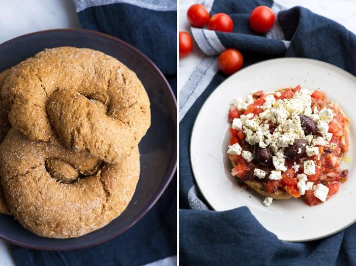 """Cretan 'Dakos' Barley Rusk with Tomato, Feta, Olives. <div class=""""hrecipe jetpack-recipe""""><div class=""""jetpack-recipe-content""""></div></div>"""
