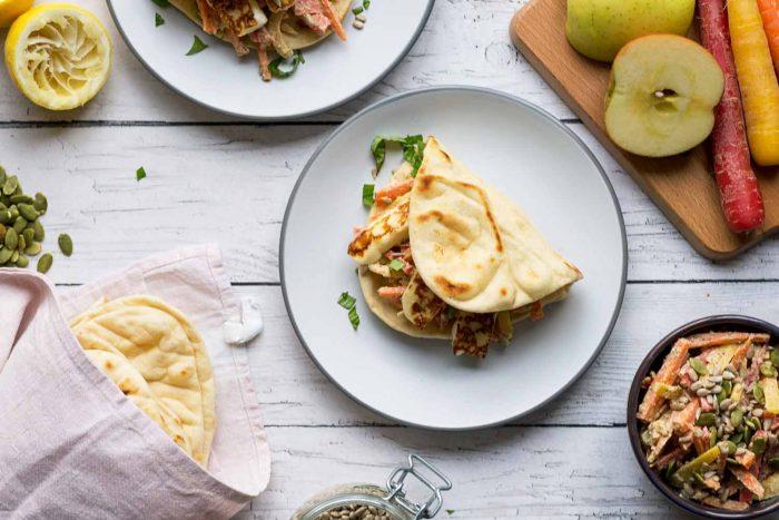 Flatbread With Jamie Olivers Tahini Carrot And Apple Slaw