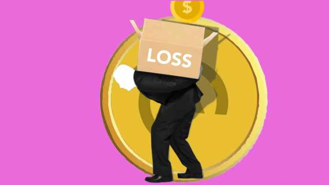 illustration of man carrying box of financial loss on back because of long-term debt