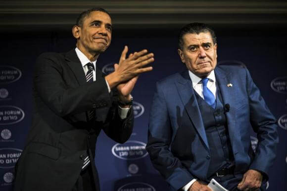 U.S. President Barack Obama (L) arrives to speak with Israeli-American media tycoon Haim Saban about negotiations with Iran in Washington December 7, 2013. (Photo: James Lawler Duggan/Reuters)