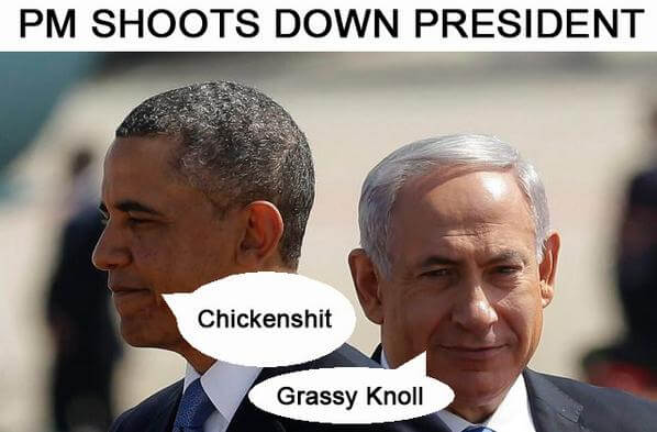 PM shoots down President (Graphic by @NewryForGaza)